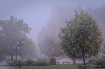 Borsos Szilárd: Kecskemét belvárosa hajnali ködben
